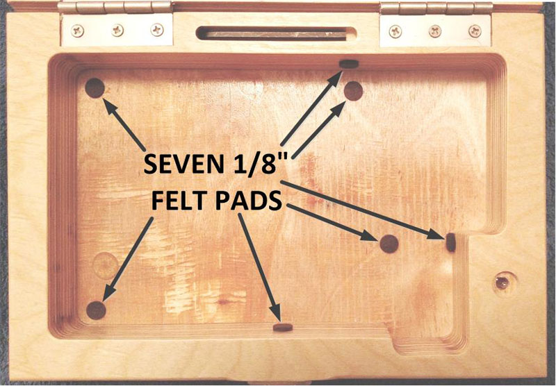 Close-up Showing Felt Pads Inside the Multi-Gauge Box