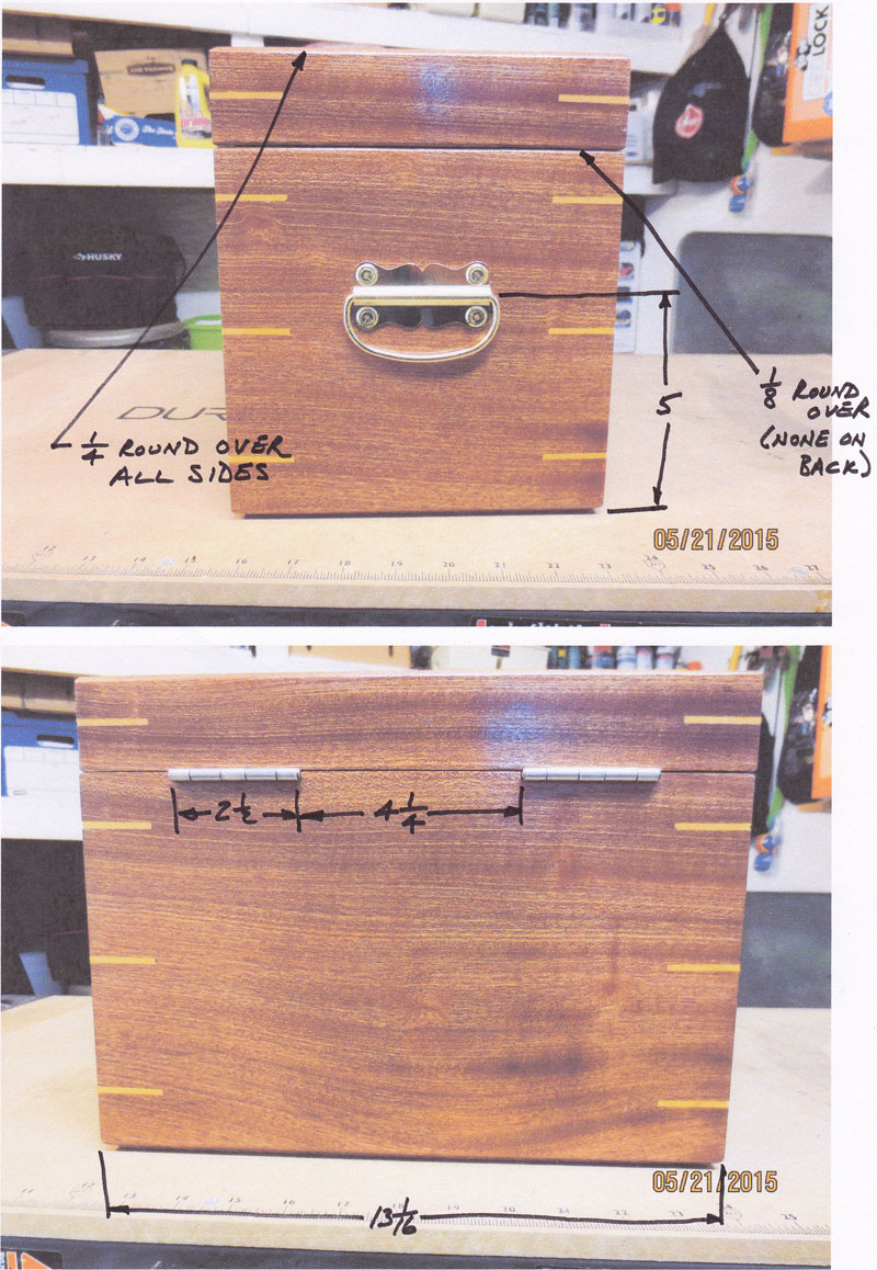 Dimensions Along End and Back of Sapele Box